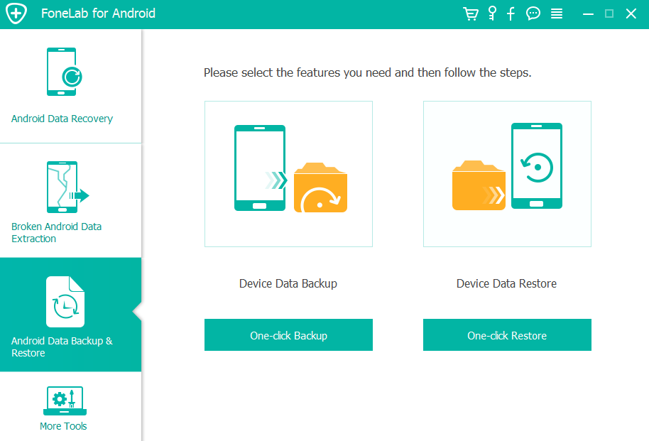 Vælg Android Data Backup & Gendan