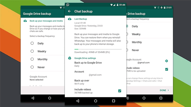 backup android Whatsapp med Google