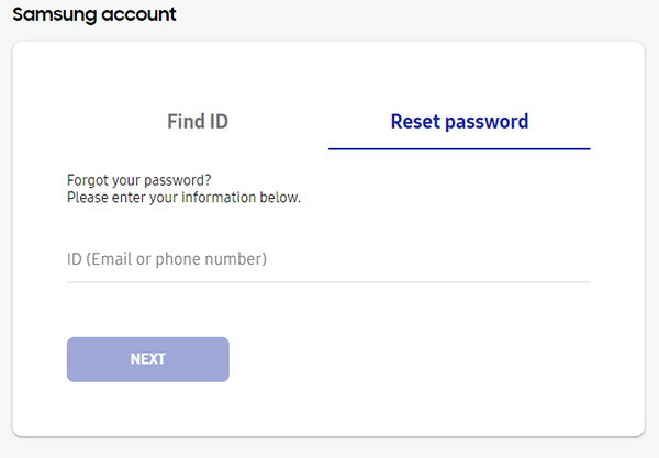reset samsung password