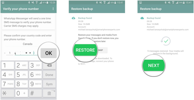 restaurar Android WhatsApp desde Google Drive