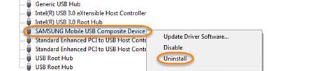 Desinstalación del controlador USB