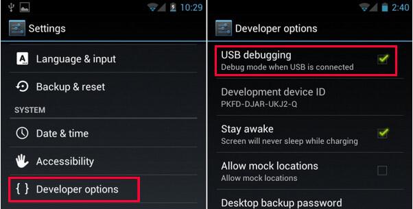 Modo de depuración USB