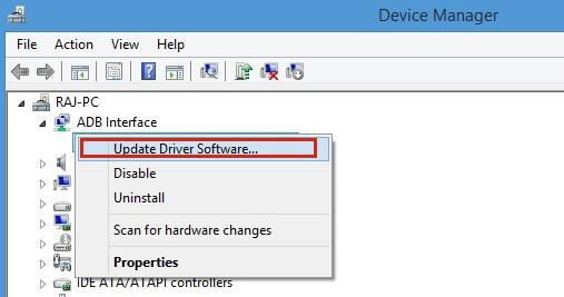 Actualización del controlador USB