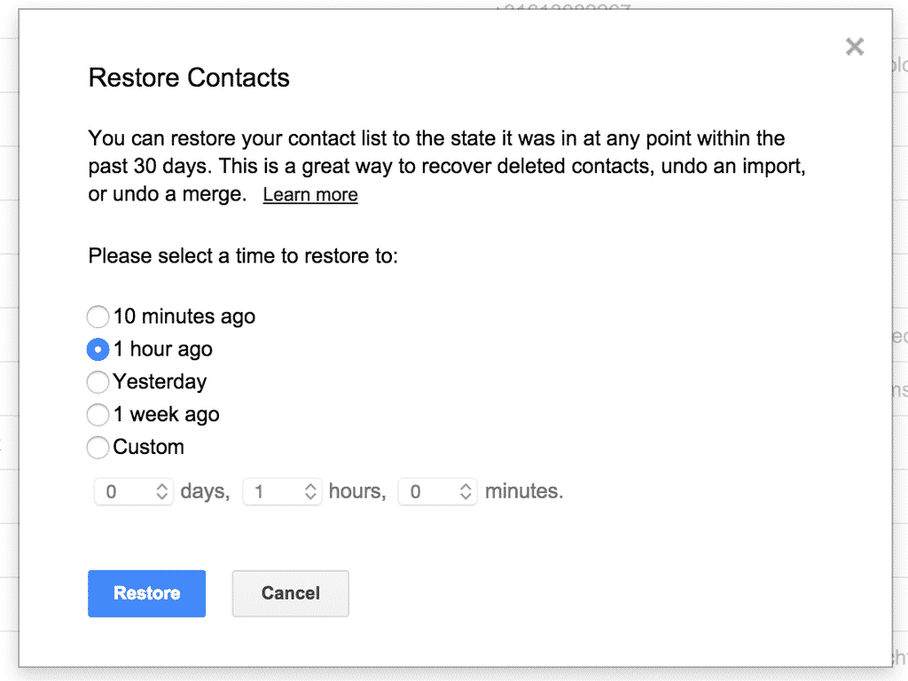 przywrócić kontakt z Gmailem
