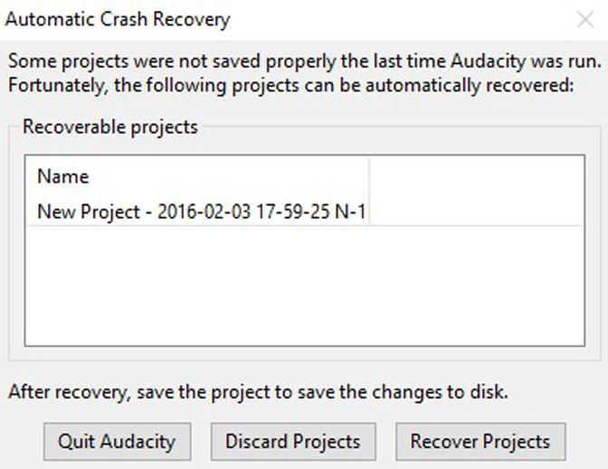 Audacity automatic crash recovery