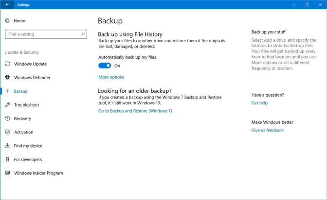 backup file history settings windows10