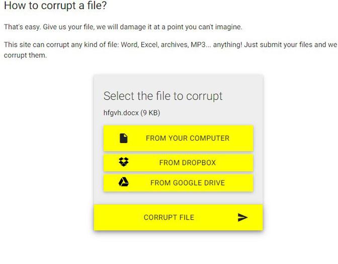 Klik på korrupt fil