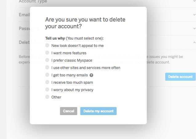 törölje a myspace fiókot