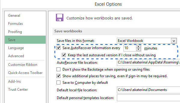 enable autosave option