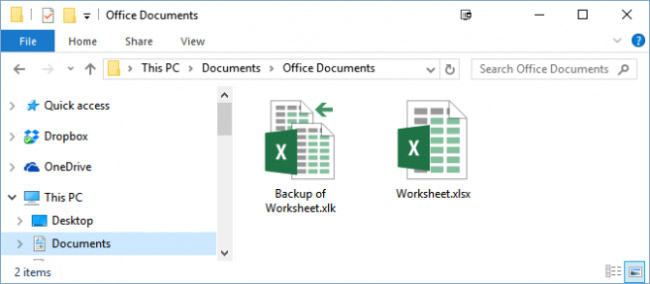 excel arquivo de backup