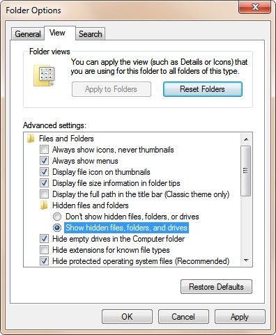 Hidden Files View Advanced setting