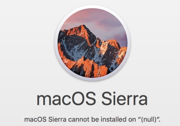 macos sierra cannot be isntalled on null