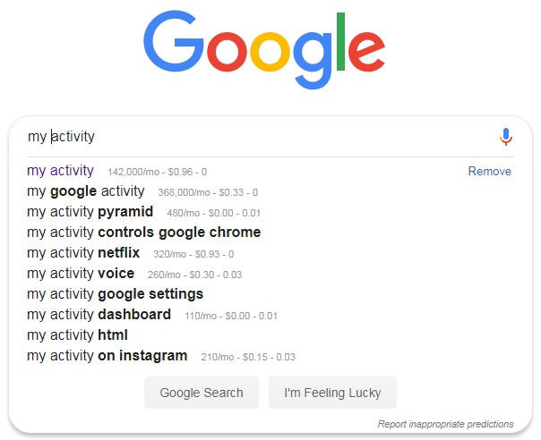 my activity open google and type