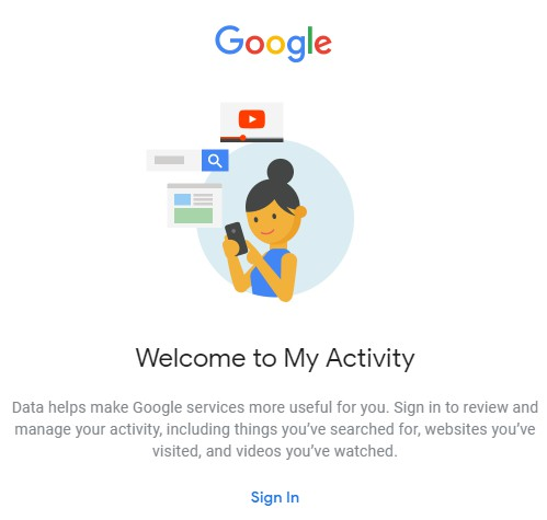 my activity sign in google