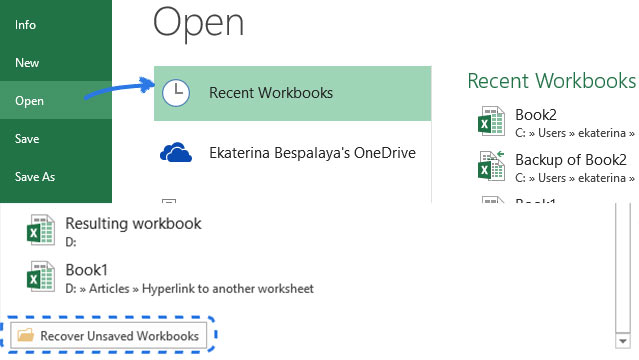 open recent workbooks