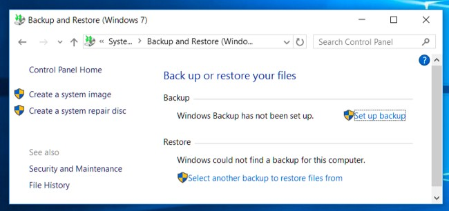 Gendan filen fra Windows backup