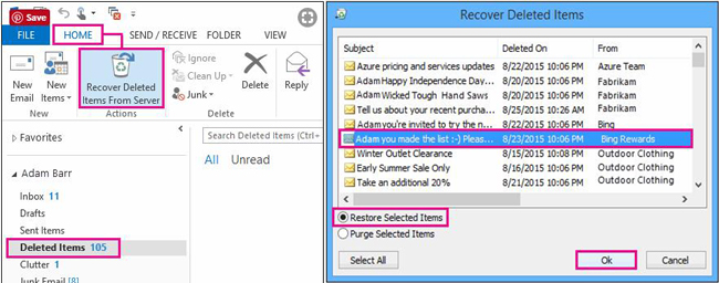 recover deleted emails from server