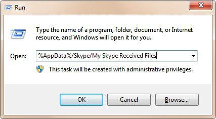 Führen Sie das Fenster Meine Skype-empfangenen Dateien aus