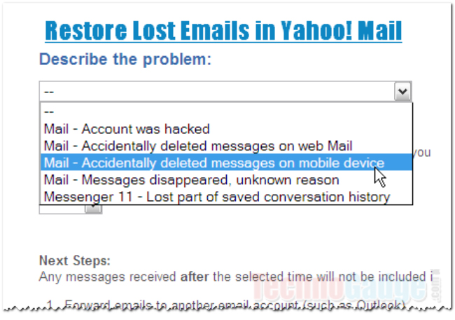 yahoo mail restore feature