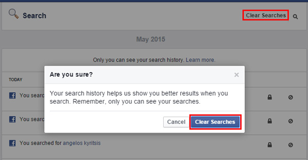 How to delete facebook search history completely clear facebook history ccuart Images