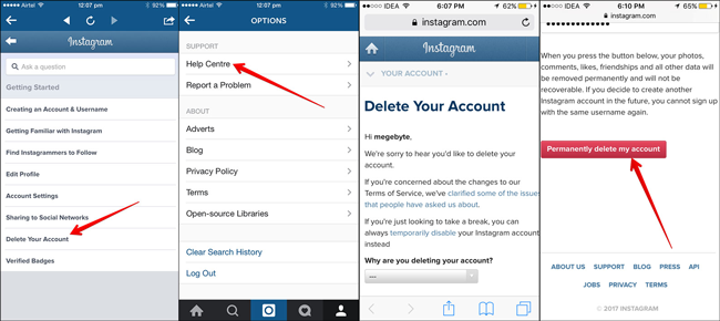 How to delete account in iphone