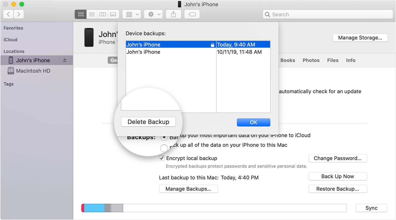 elimina il backup icloud su mac