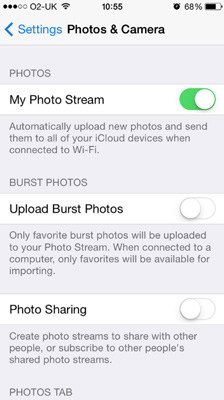 Disable Photo Stream