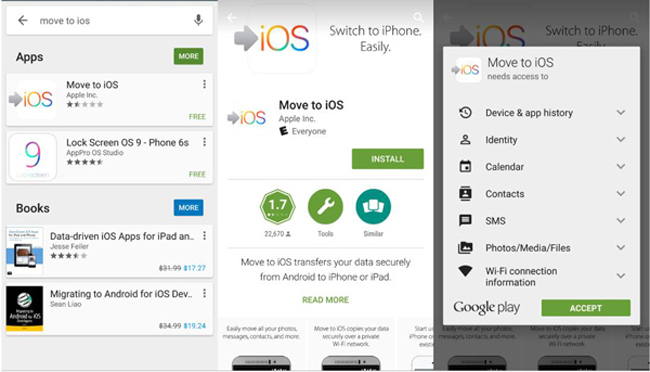 installer déplacer l'application ios sur Android