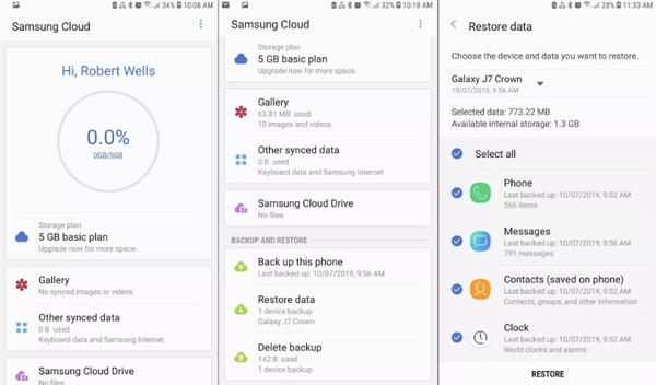 restore data with samsung cloud