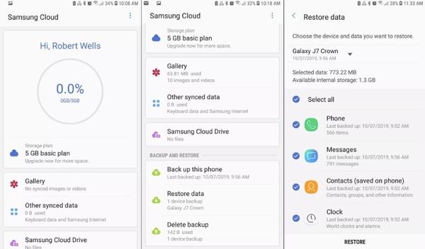 restaurer les données avec samsung cloud