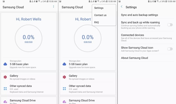 samsung sync and auto backup settings