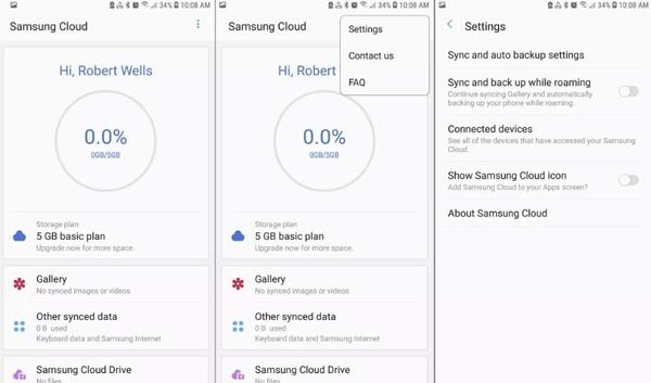 Ustawienia synchronizacji i automatycznej kopii zapasowej Samsung