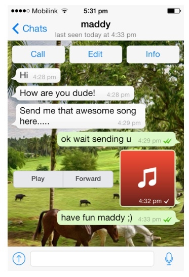 Send musik fra iPhone til Android via WhatsApp