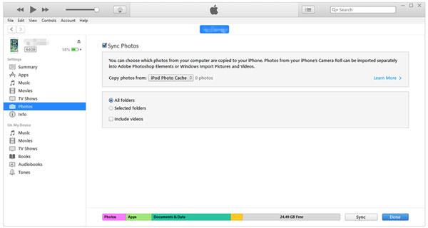 szinkronizálja a fényképeket az ipad-ra az iTunes-szal