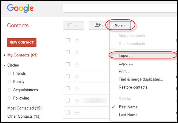 przenieś kontakt icloud do Androida za pomocą Gmaila