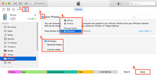 transfer photos from laptop to iphone with itunes