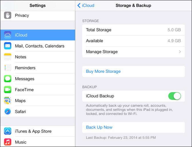 Comment sauvegarder iPad icloud backup
