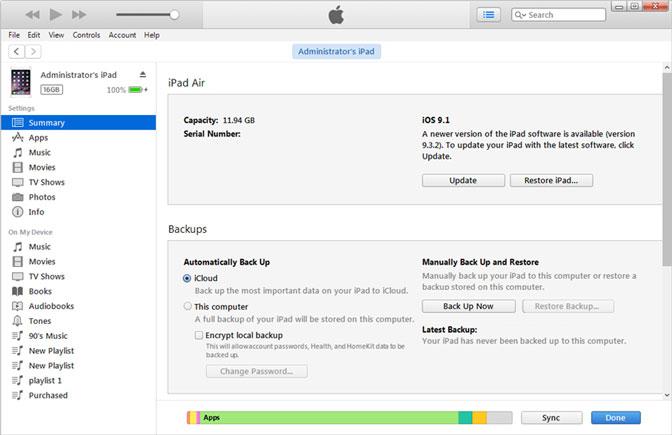 Az iPad biztonsági másolatának készítése az iTuneson keresztül a icloudba
