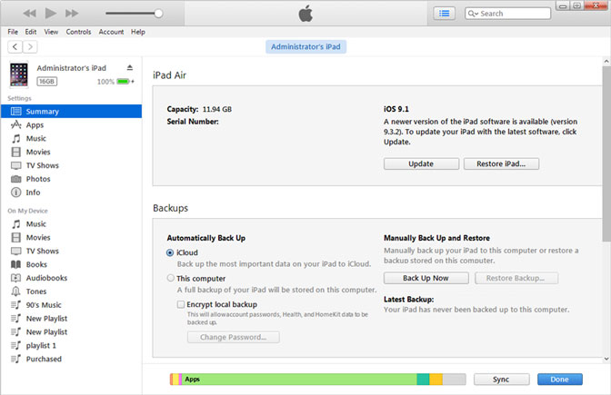 Comment sauvegarder iPad sur icloud via iTunes