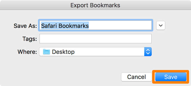 export bookmark of safari to mac