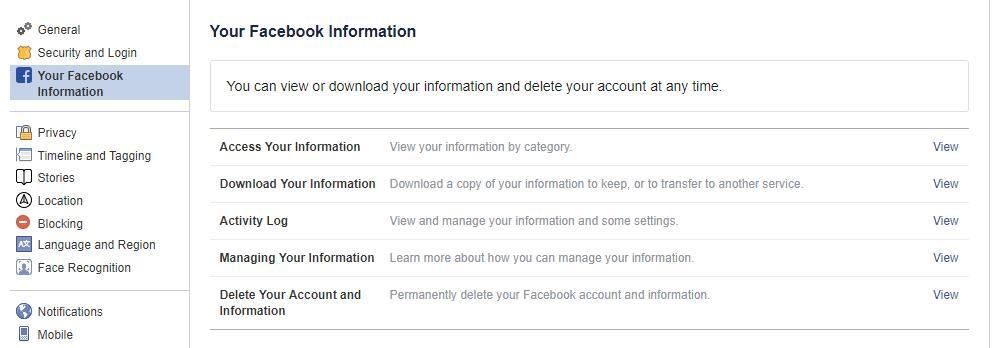 Facebookの情報にアクセスする