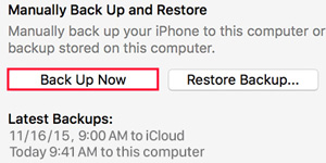 Backup iPhone Use iTunes
