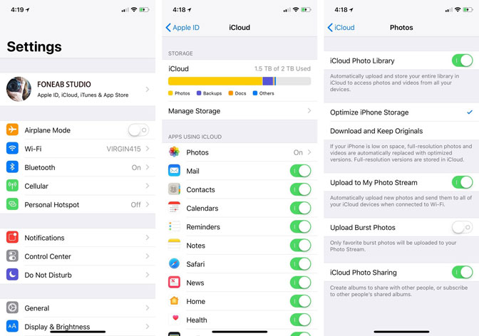 enable icloud photo library on device settings