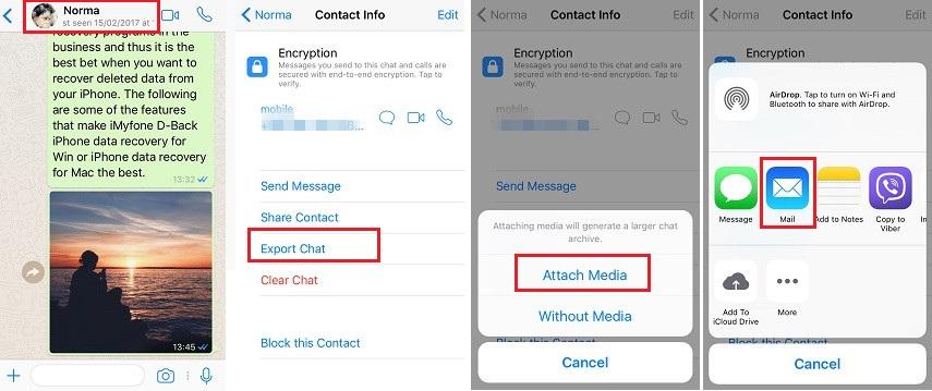 Sichern Sie den WhatsApp-Chat-Verlauf per E-Mail