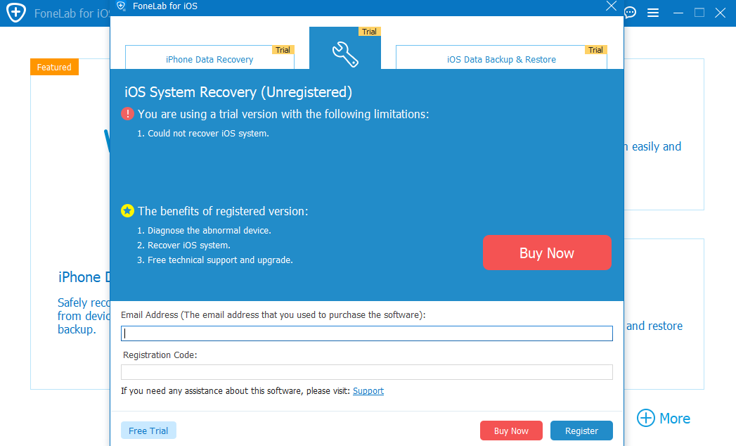 ios system recovery registration