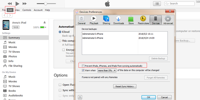prevent ios device from syncing automatically
