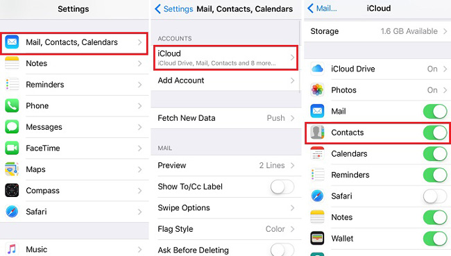 Restore contacts from iCloud backup