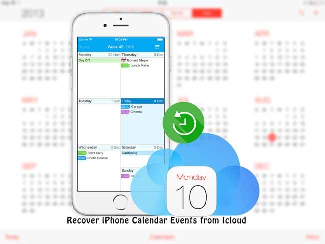 récupérer des calendriers iphone d'icloud