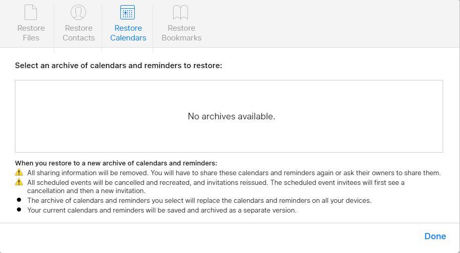 Restaurer les calendriers à partir d'iCloud