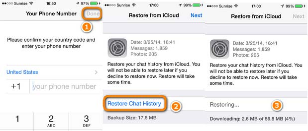 Restaurar o backup do WhatsApp iCloud